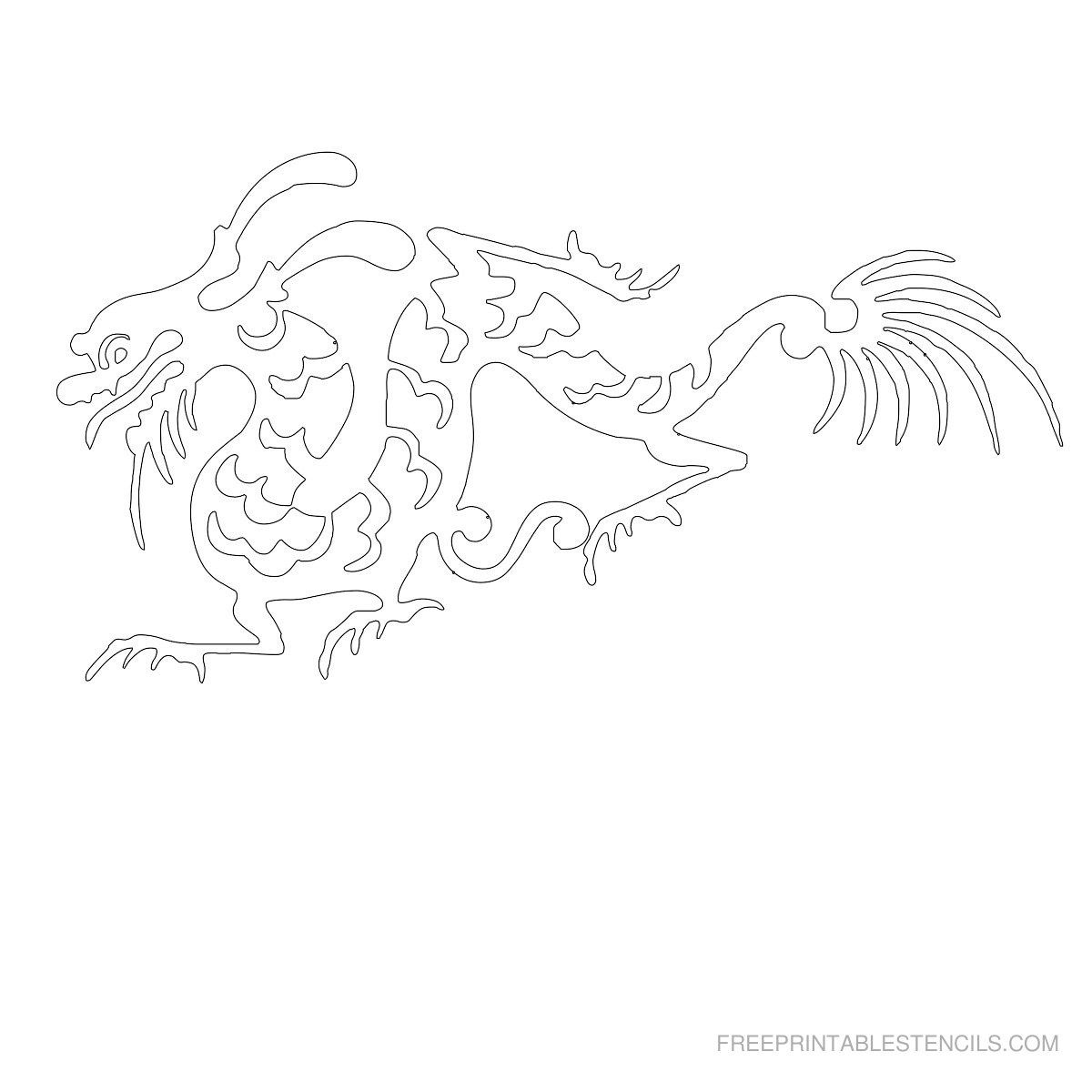 Free Printable Dragon Stencil A | Crafts To Try | Stencils - Free Printable Dragon Stencils