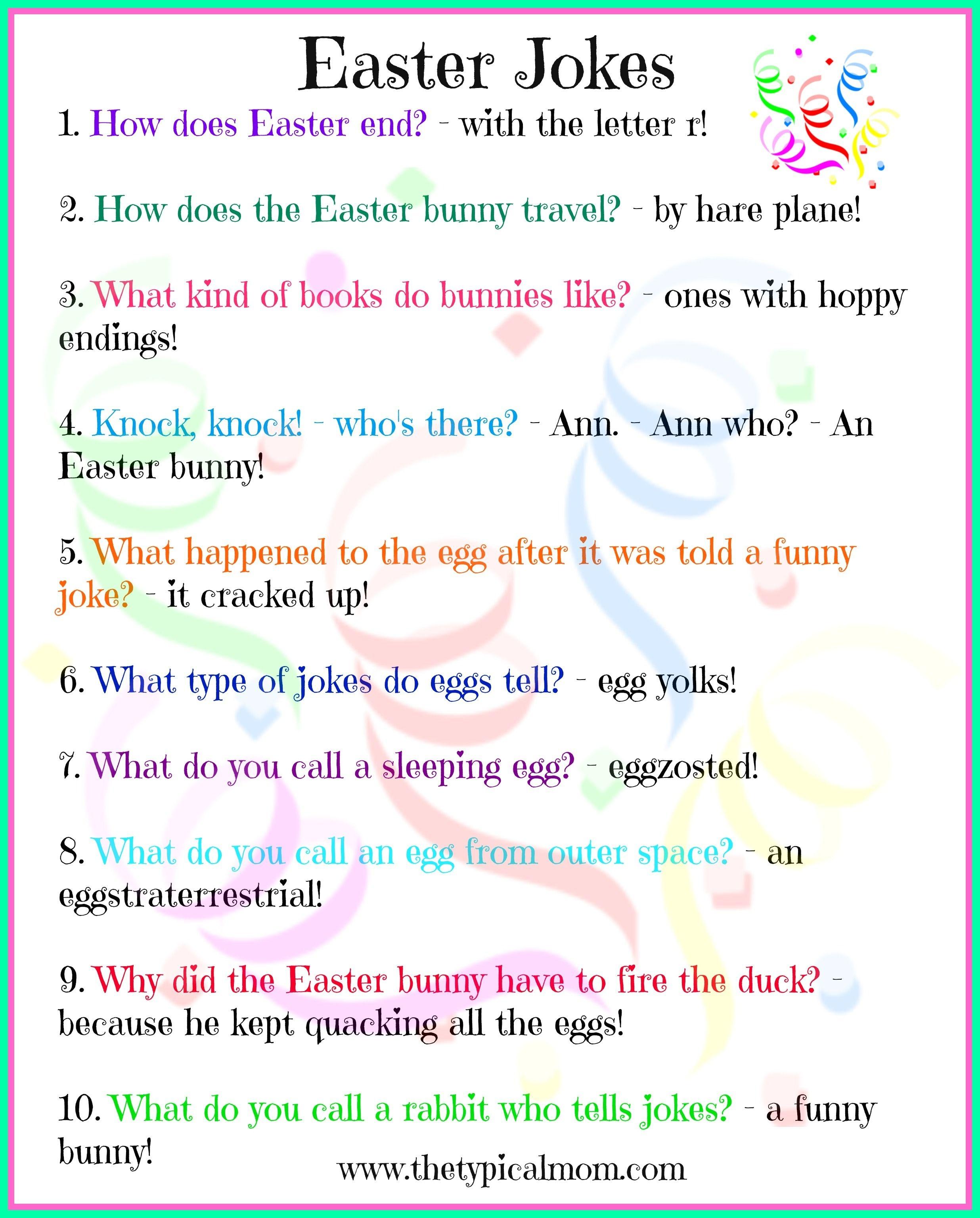 Free Printable Easter Jokes For Kids! Kids Love Jokes And Here Are - Free Printable Jokes For Adults