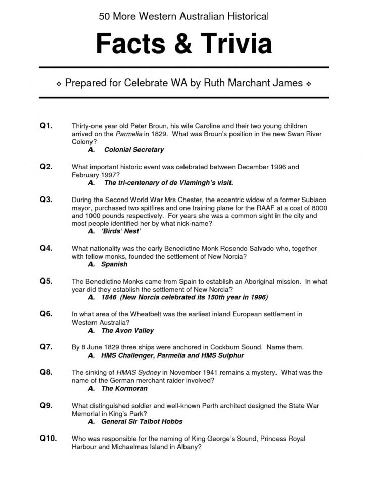 Free Printable Trivia Questions And Answers
