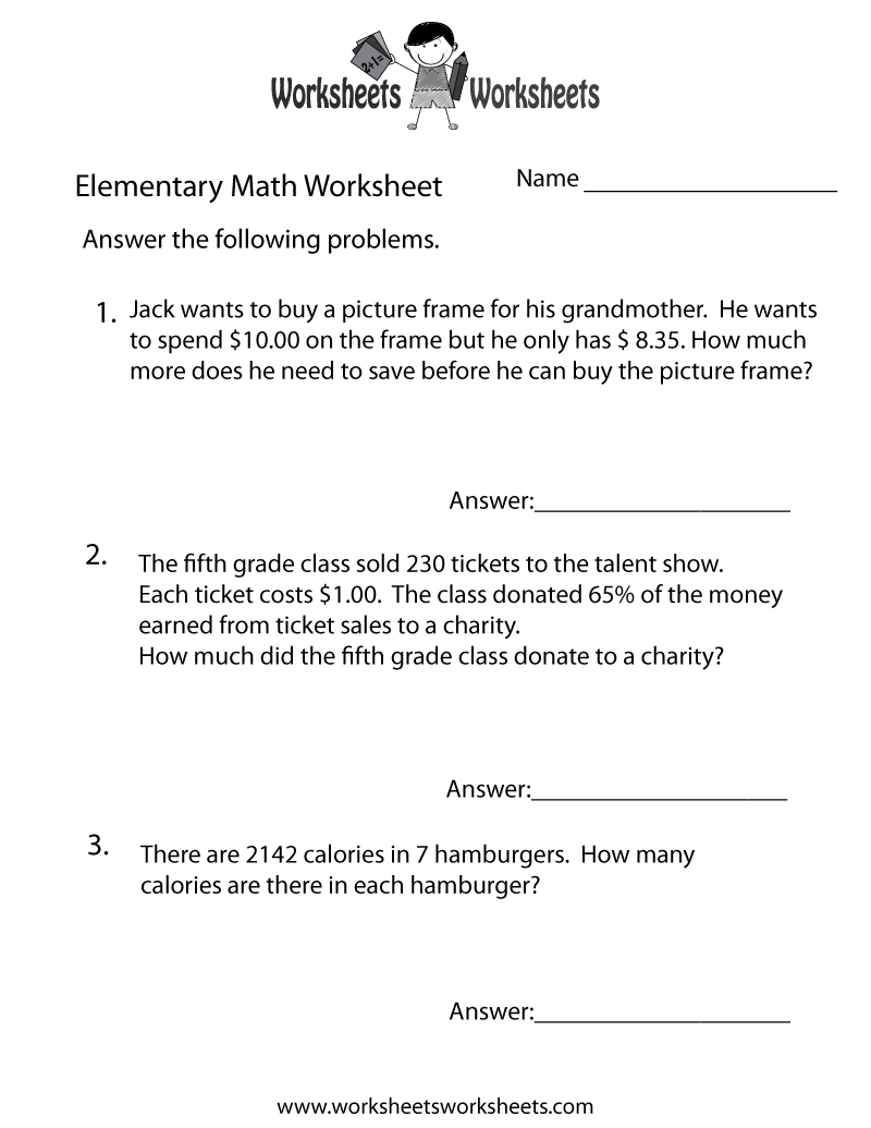 Free Printable Elementary Math Word Problems Worksheet - Free Printable Math Word Problems