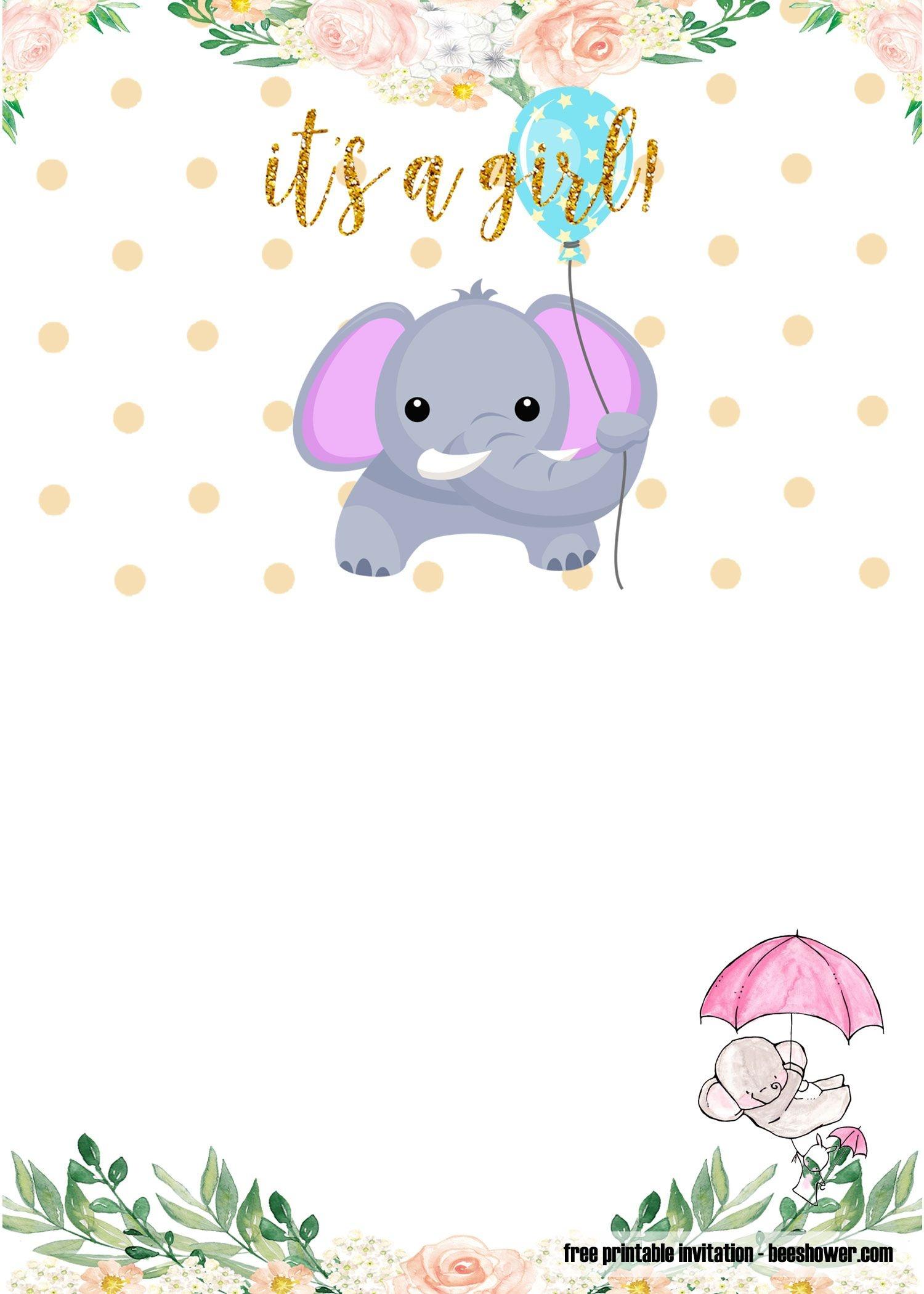 Free Printable Elephant Baby Shower Invitations | Stuff | Baby - Free Printable Elephant Baby Shower Invitations