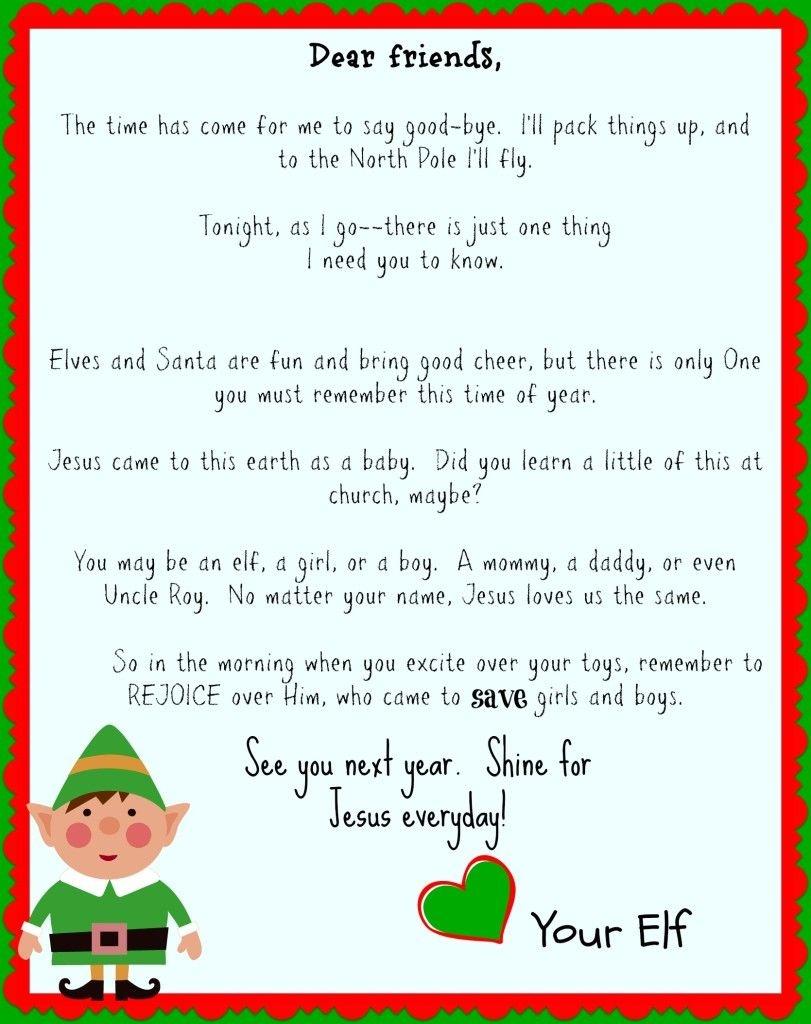 Free Printable Elf On The Shelf Goodbye Letter {Jesus Focused} | The - Free Printable Elf On The Shelf Story
