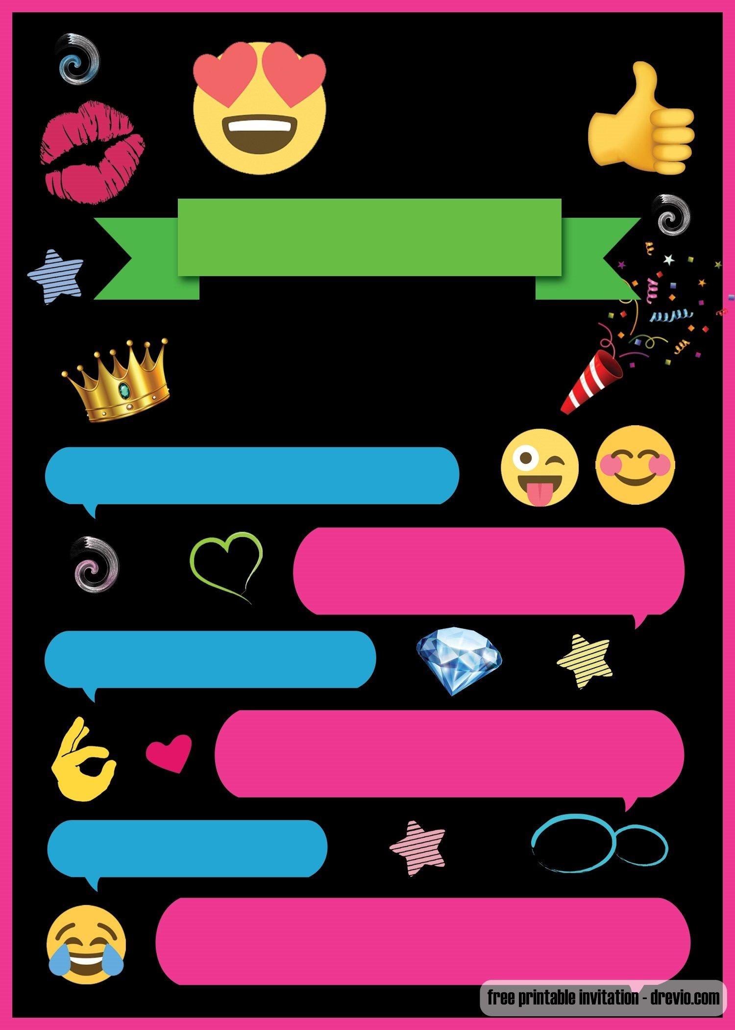 Free Printable Emoji Chat Invitation | Q Party | Birthday Party - Emoji Invitations Printable Free