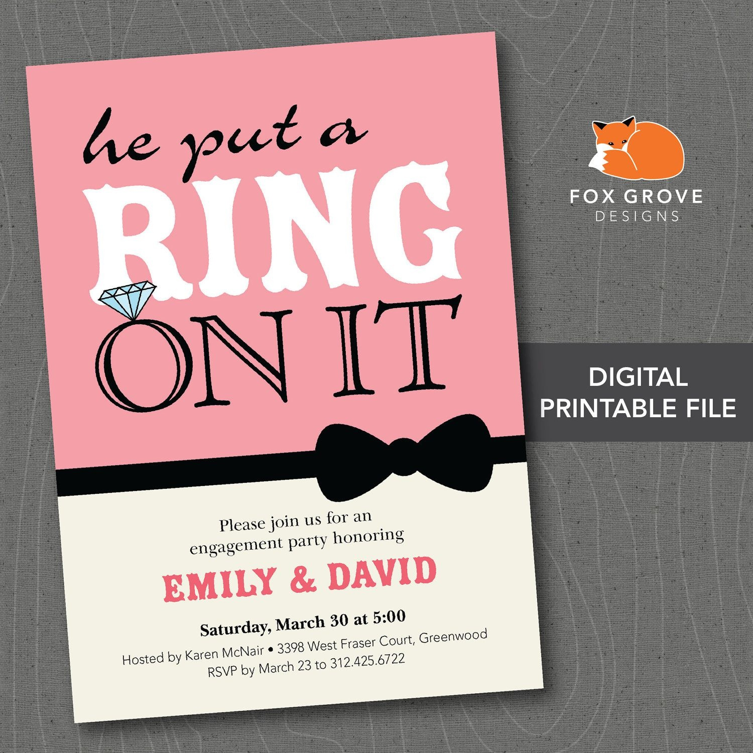Free Printable Engagement Invitation Templates - Party Invitation - Free Printable Engagement Party Invitations