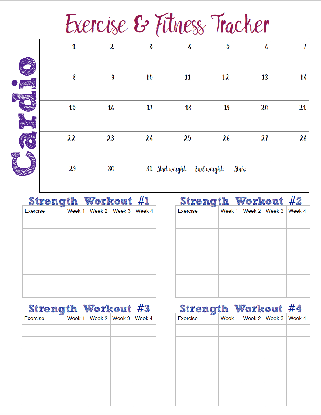 Free Printable Fitness Trackers: 3 Different Monthly Designs - Free Printable Fitness Tracker