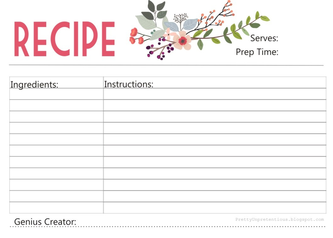 Free Printable : Floral Recipe Card - Free Printable Photo Cards 4X6