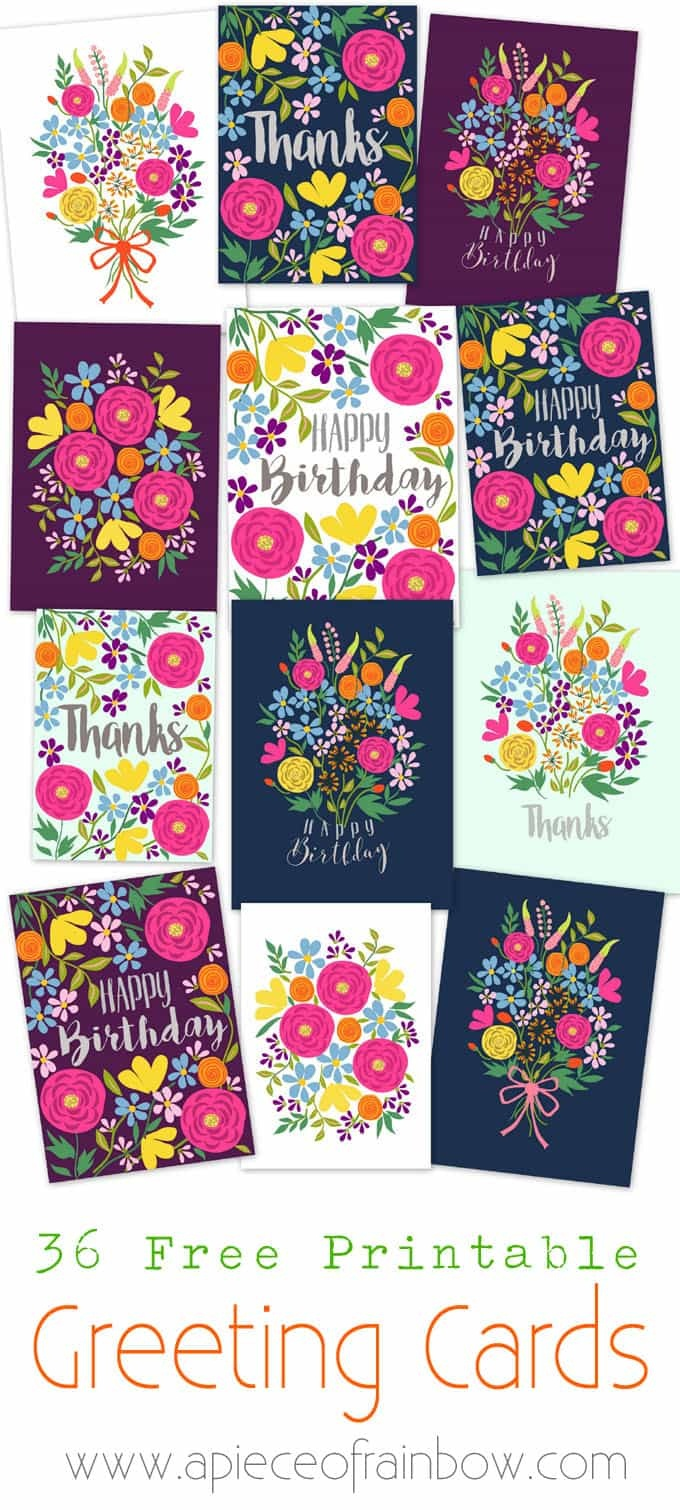 Free Printable Flower Greeting Cards - A Piece Of Rainbow - Free Printable Cards
