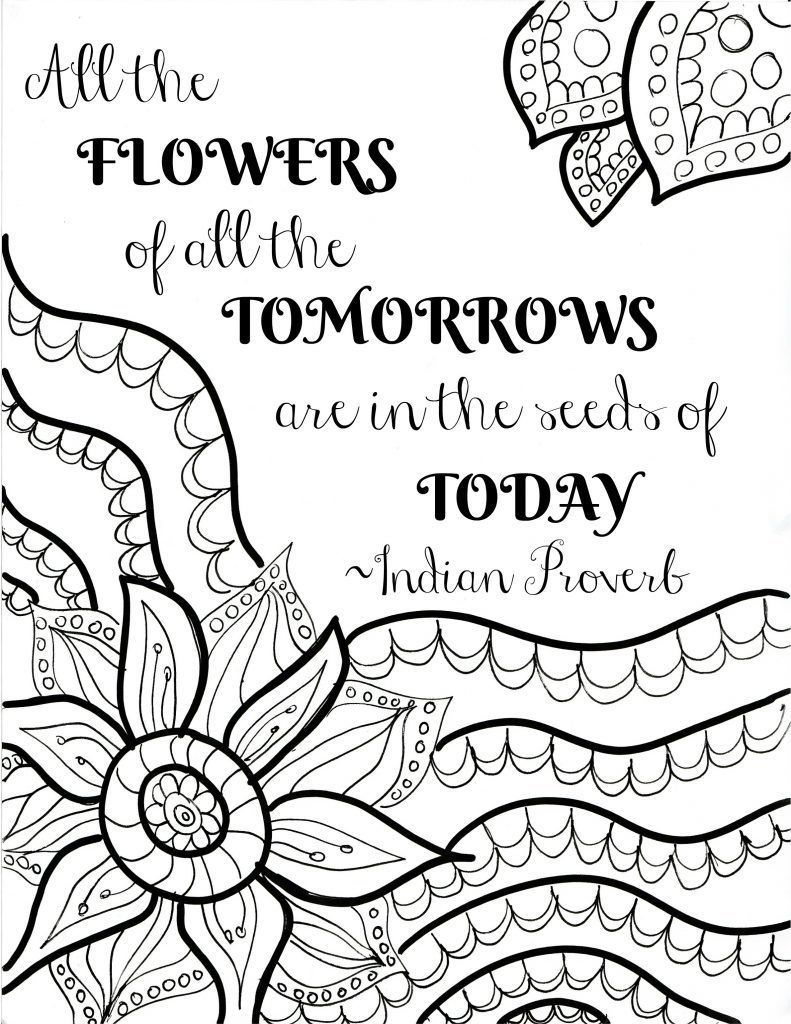 Free Printable Flower Quote Coloring Pages | Color Me Quotes | Quote - Free Printable Quote Coloring Pages For Adults