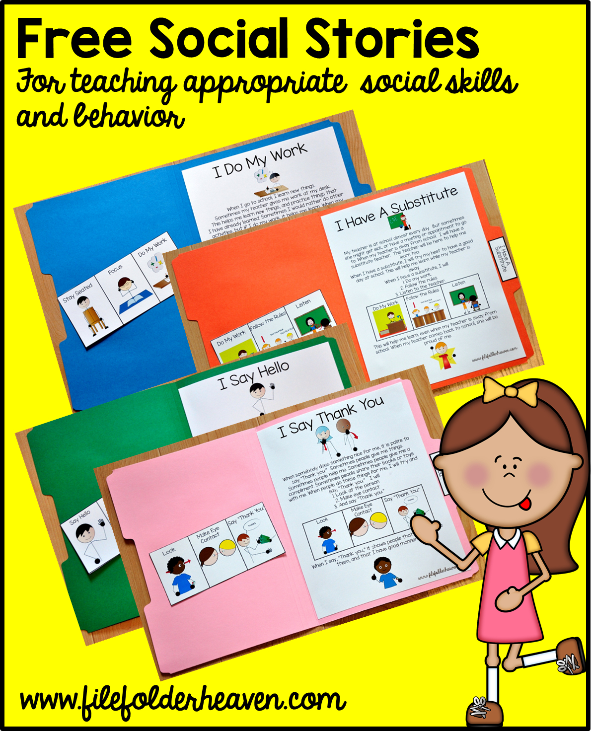 """Free, Printable """"folder Stories."""" Simple One Page Social Stories - Free Printable Folder Games"""