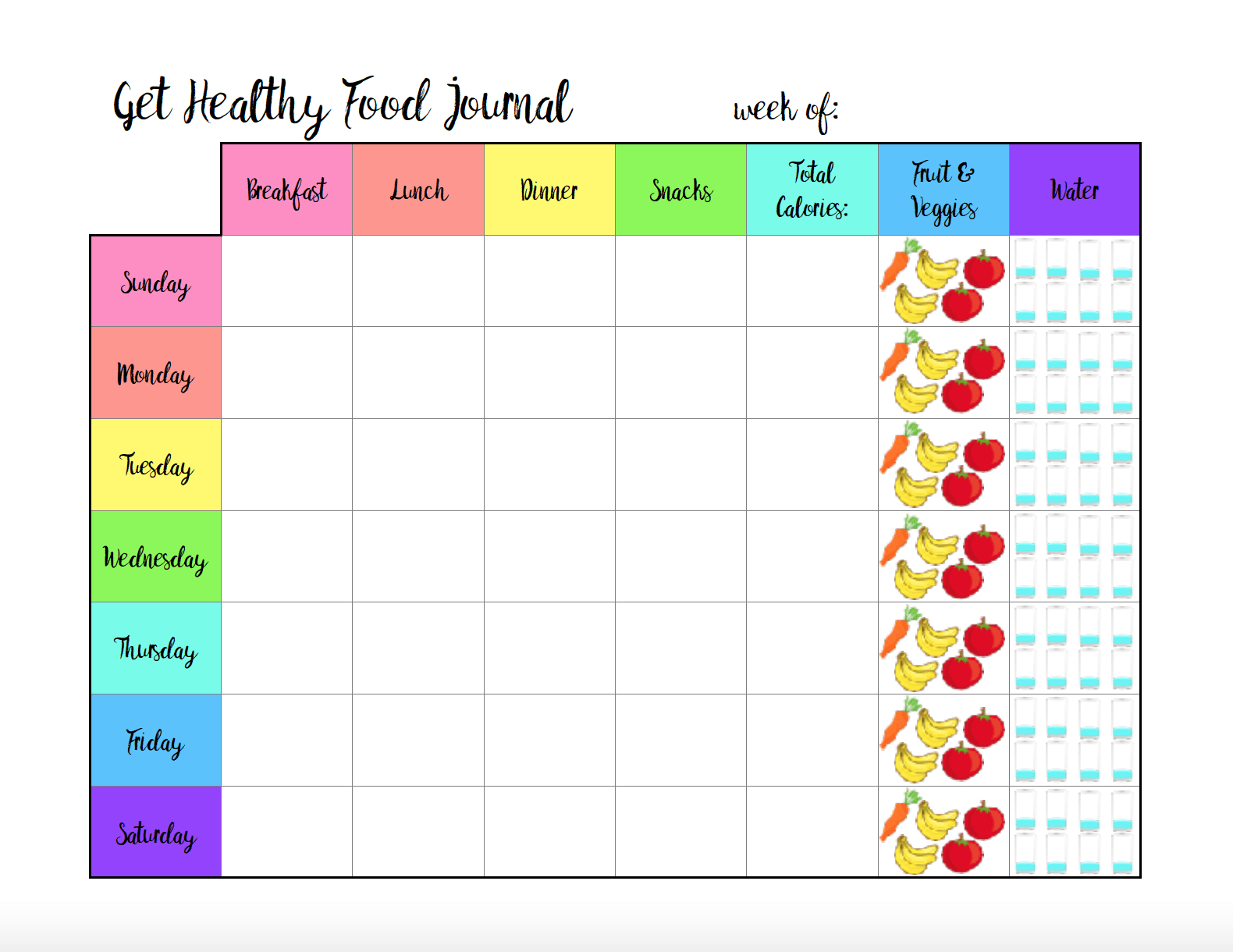 Free Printable Food Journal: 6 Different Designs - Free Printable Food Journal