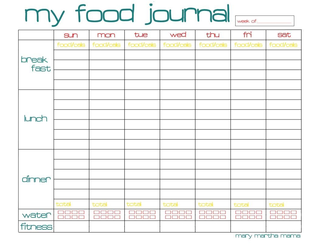 Free Printable Food Journal | Ellipsis - Free Printable Food Journal