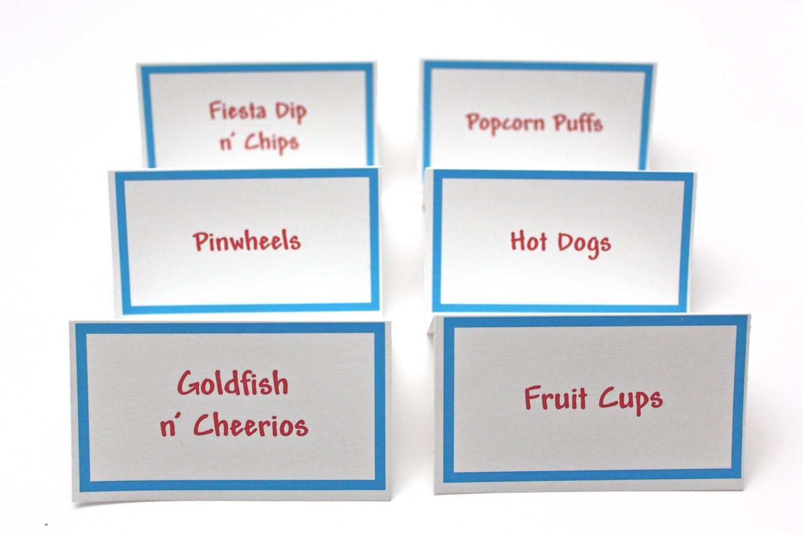 Free Printable Food Tent Cards - Printable Cards - Free Printable Food Tent Cards