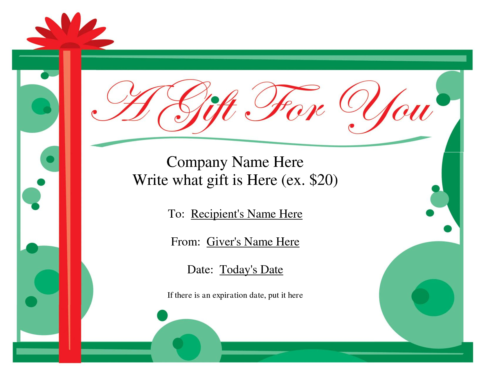Free Printable Gift Certificate Template | Free Christmas Gift - Free Printable Gift Coupons