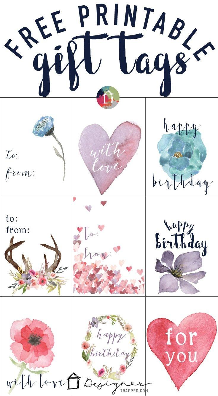 Free Printable Gift Tags For Birthdays   Designertrapped - Free Printable Birthday Tags