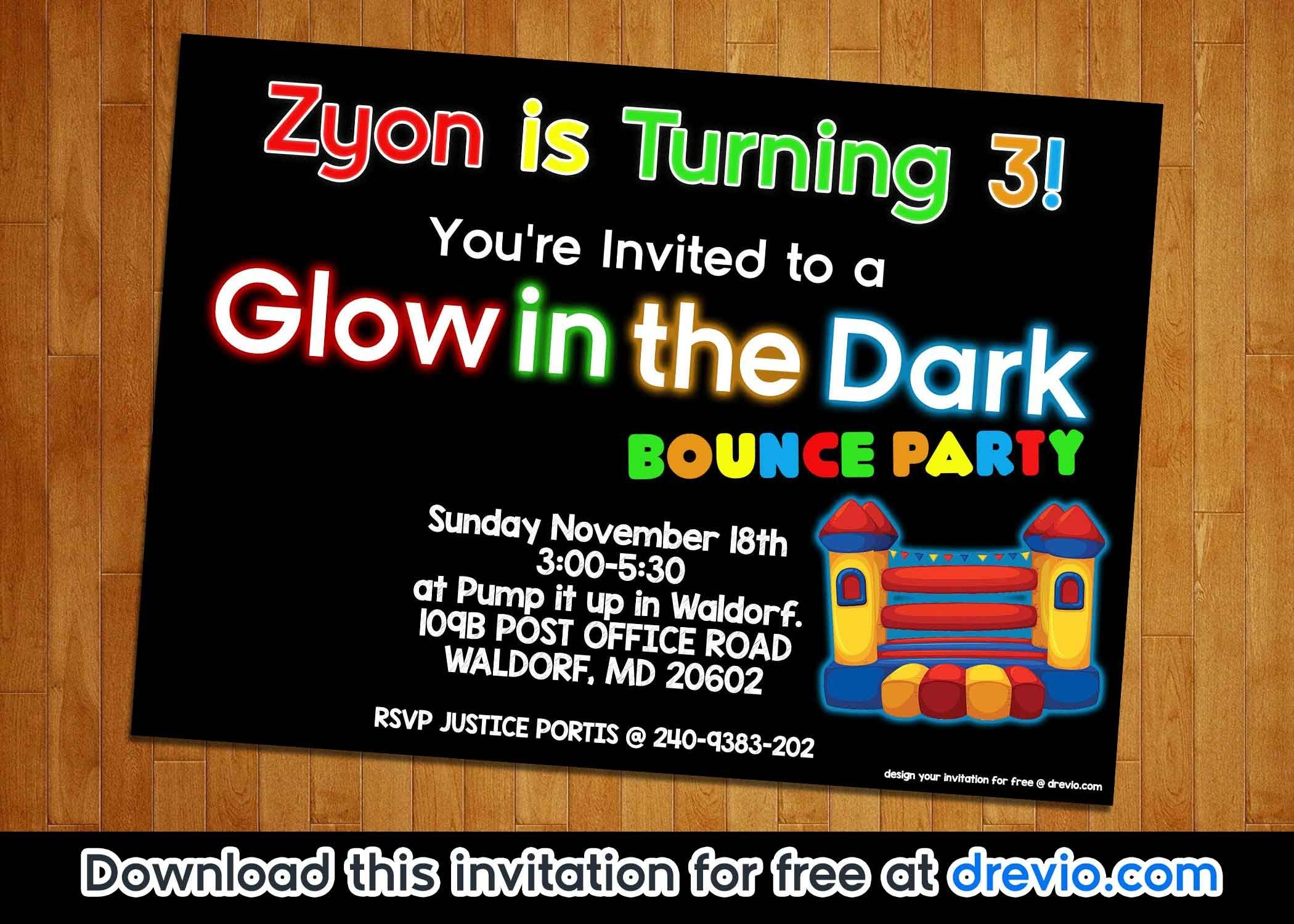 Free Printable Glow In The Dark Bounce Party Invitation Template - Free Printable Glow In The Dark Birthday Party Invitations