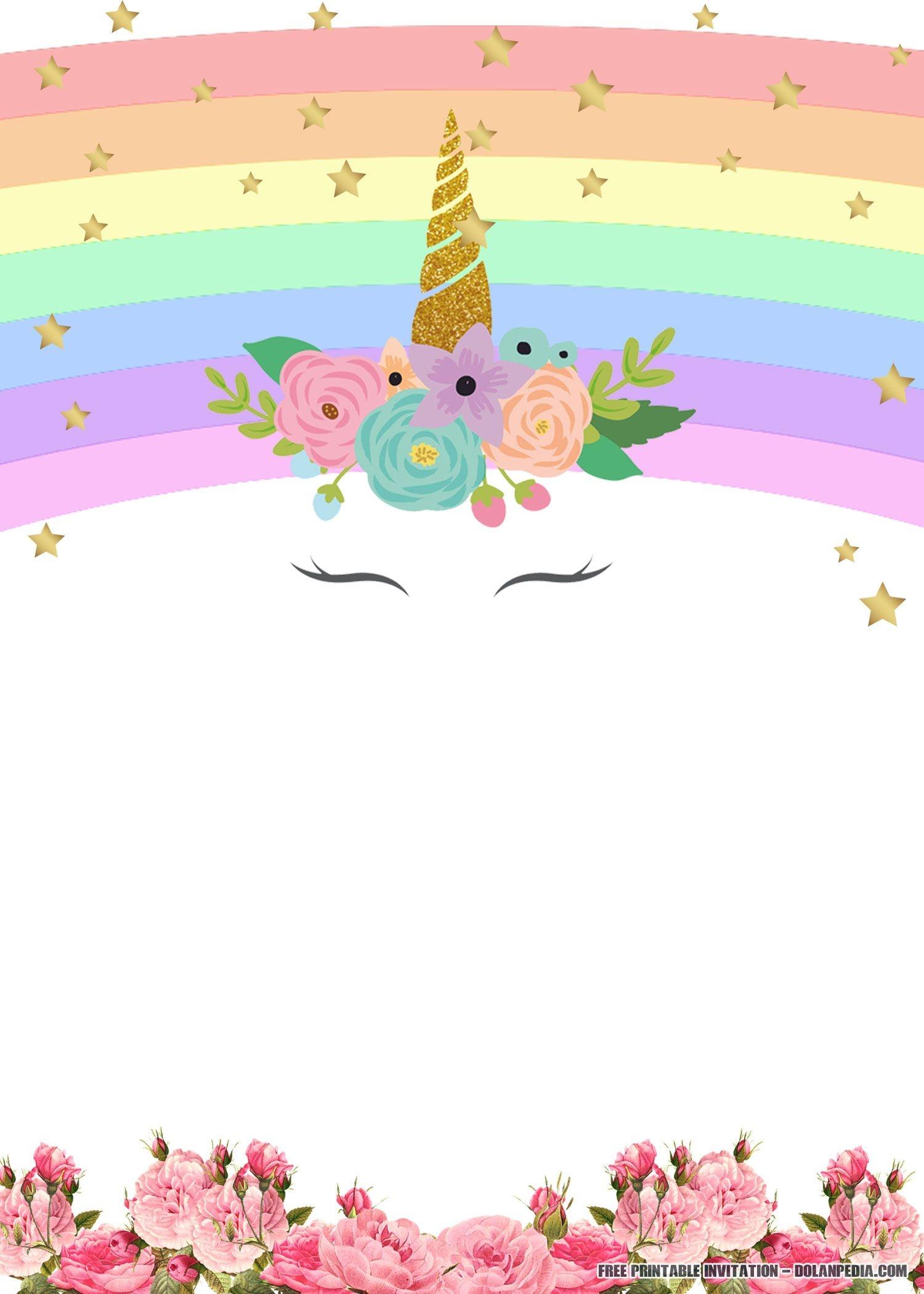 Free Printable Golden Unicorn Birthday Invitation Template | Unicorn - Free Printable Unicorn Birthday Invitations