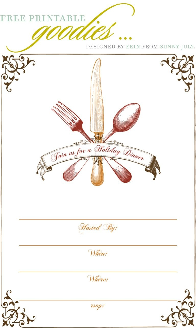 Free Printable Goodies - Sunny July | Holiday Thanksgiving | Dinner - Christmas Menu Printable Template Free