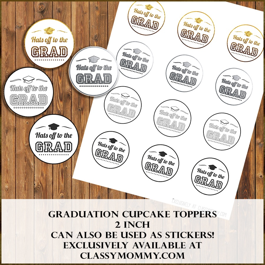 Free Printable Graduation Cupcake Toppers - Classy Mommy - Free Printable Graduation Cupcake Toppers