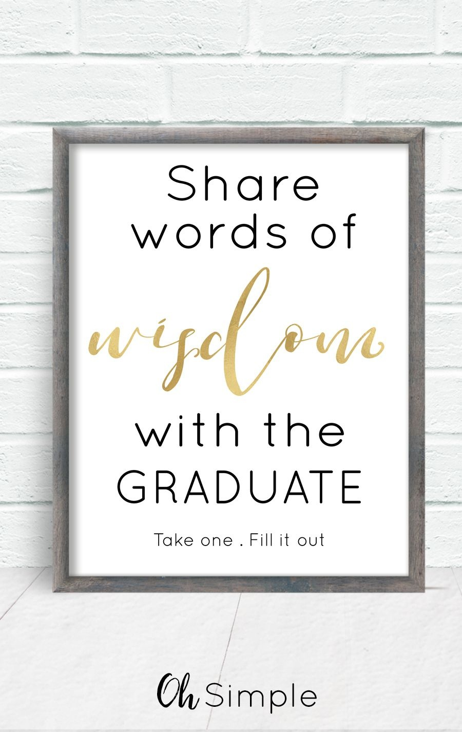 Free Printable Graduation Sign With The Purchase Of Words Of Wisdom - Free Printable Graduation Advice Cards