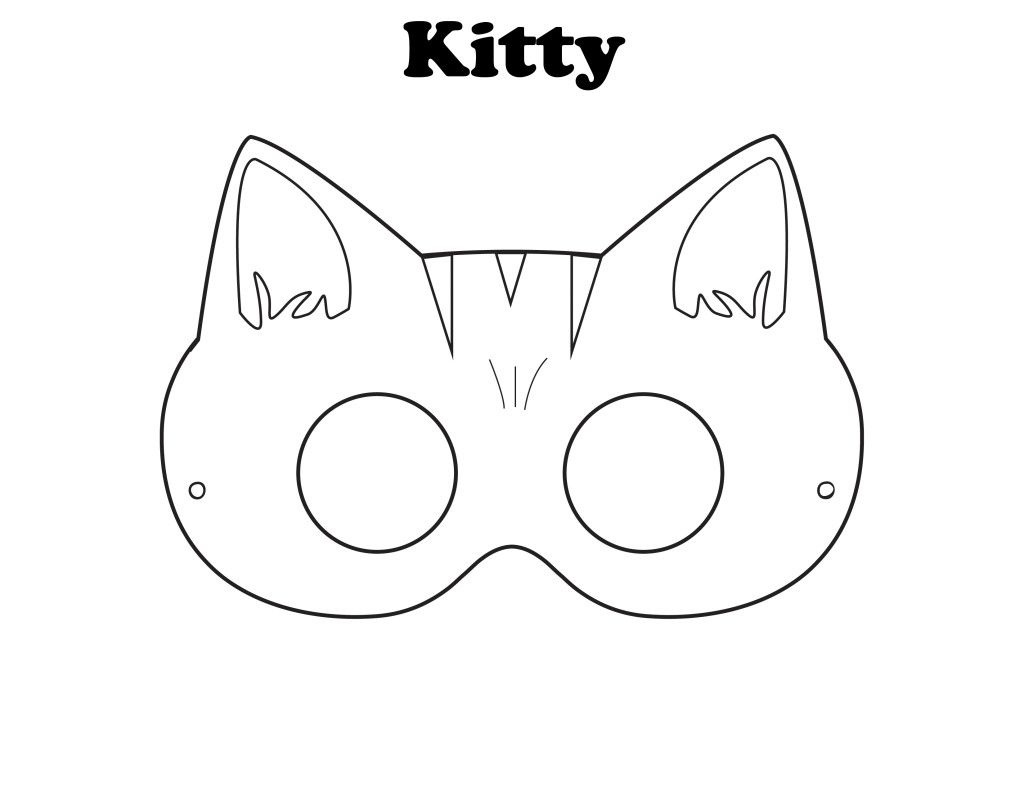 Free Printable Halloween Kitty Mask - Color It Yourself!   Awsome - Free Printable Fox Mask Template