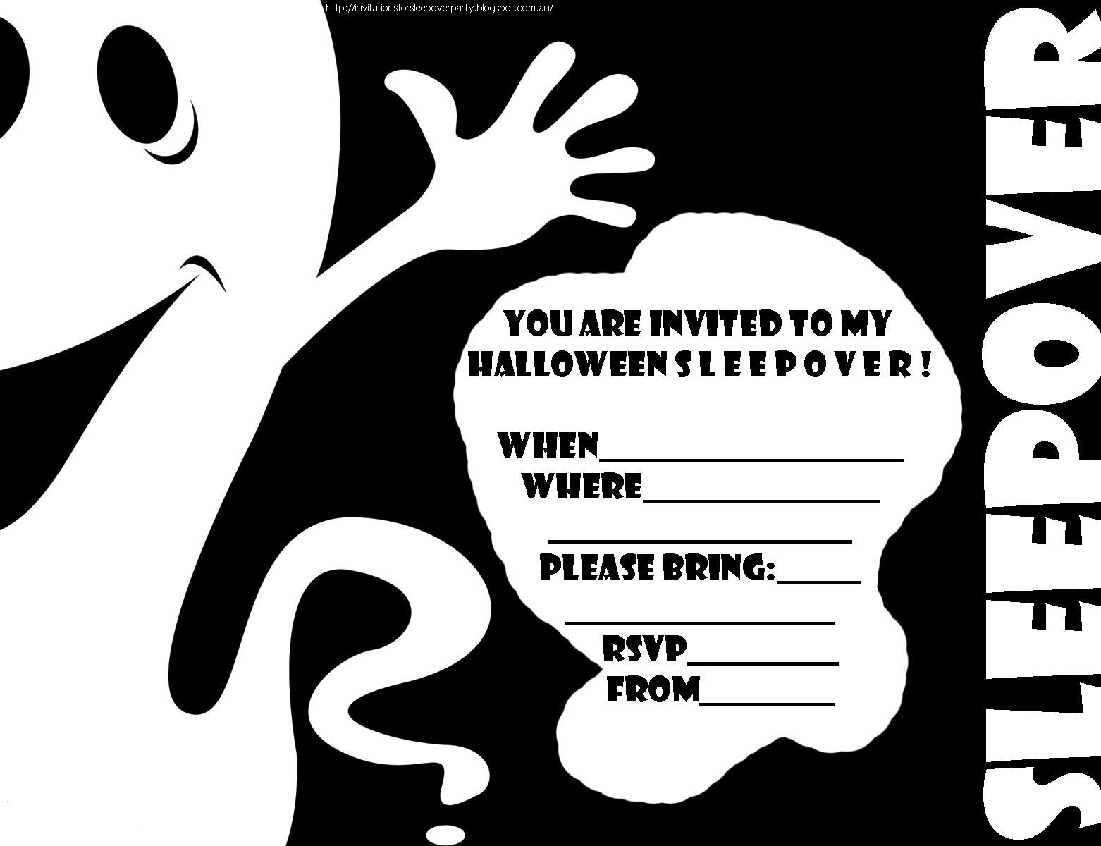 Free Printable Halloween Sleepover Invitations   Halloween Arts - Halloween Invitations Free Printable Black And White