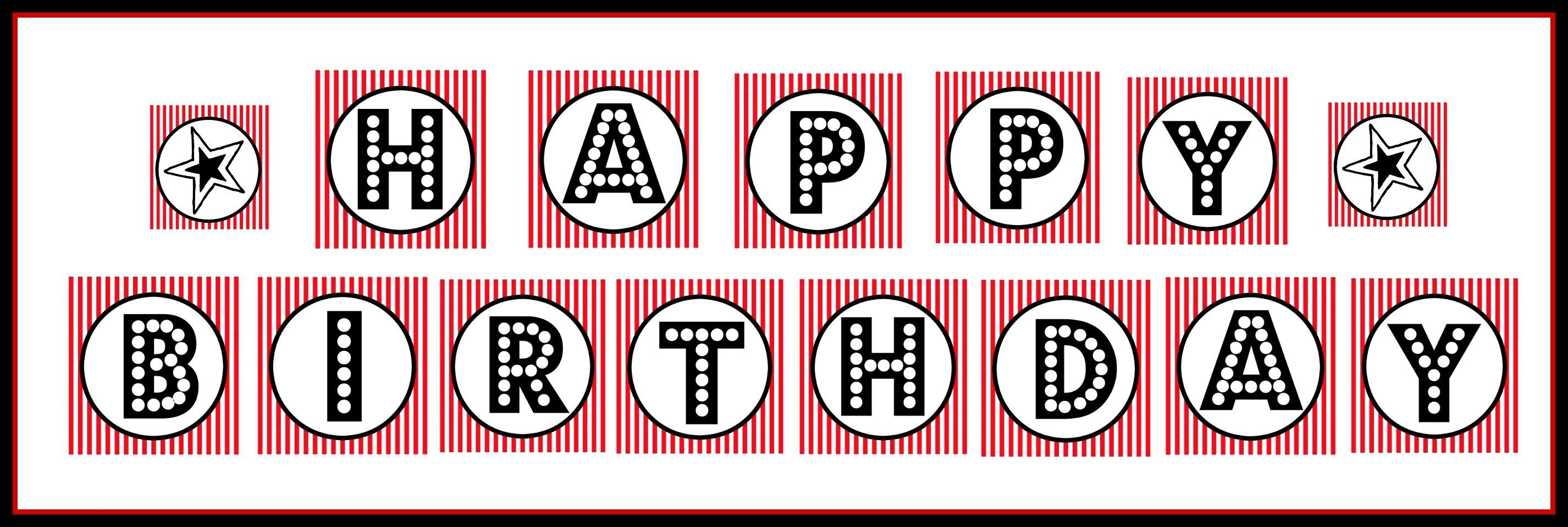 "Free Printable ""happy Birthday"" Banner / Red, Black & White - Free Printable Happy Birthday Banner"