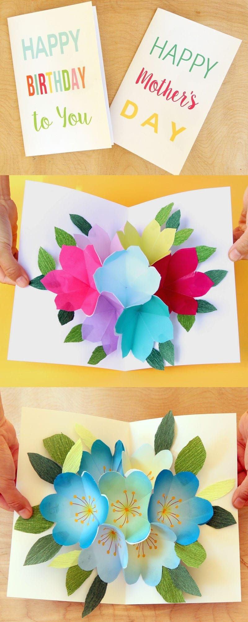 Free Printable Happy Birthday Card With Pop Up Bouquet   Printables - Free Printable Pop Up Birthday Card Templates