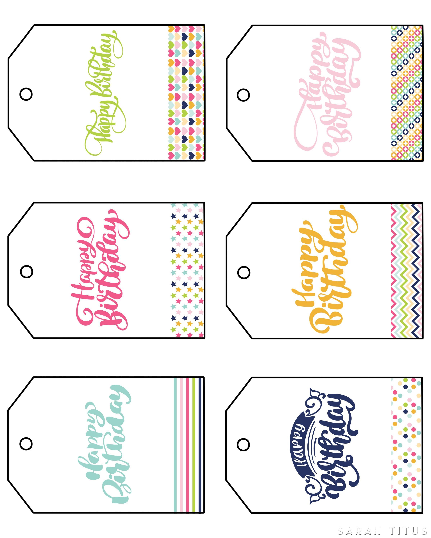 Free Printable Happy Birthday Gift Tags - Sarah Titus - Free Printable Tags