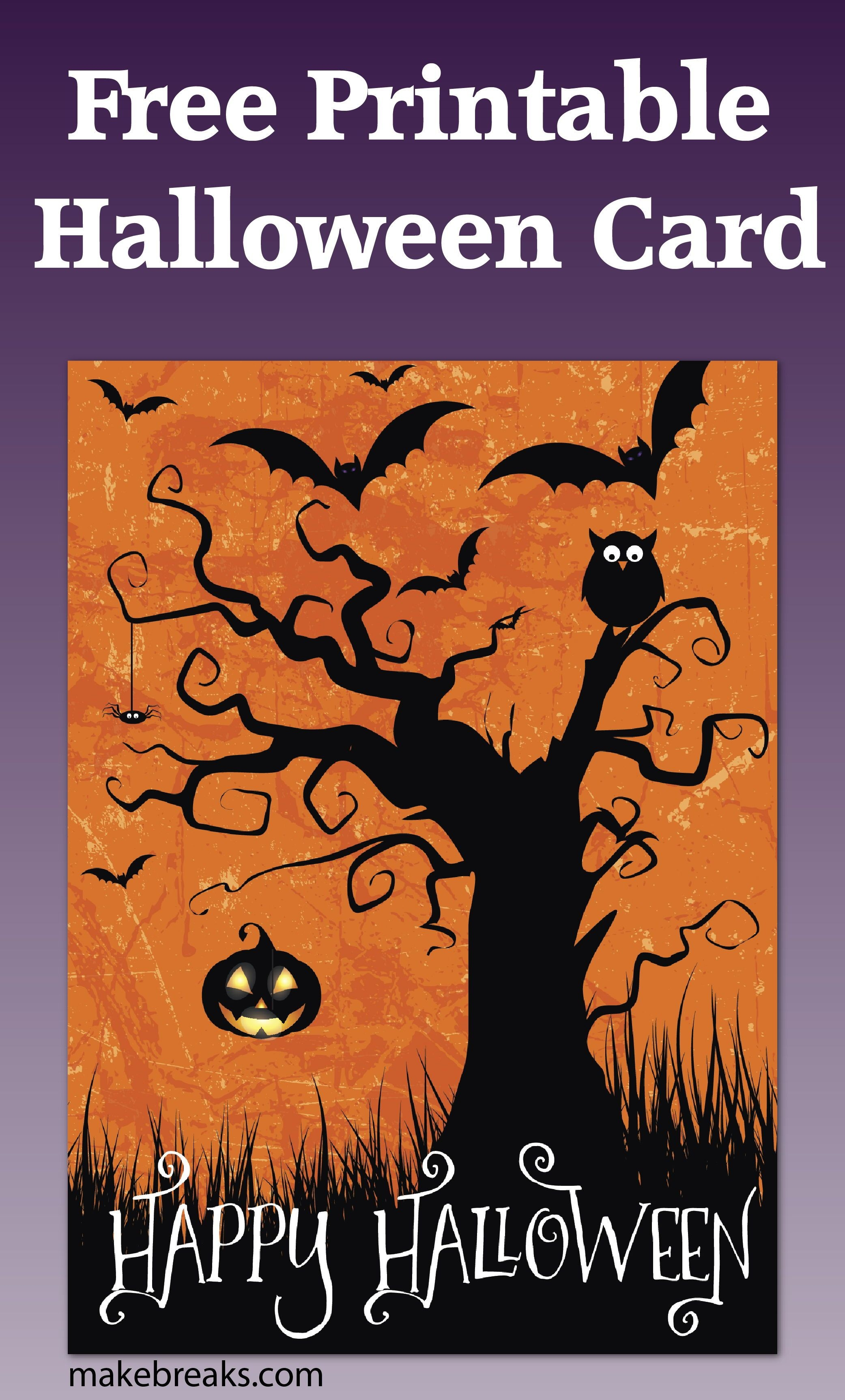 Free Printable Happy Halloween Card Or Party Invitation | Free Party - Printable Halloween Cards To Color For Free