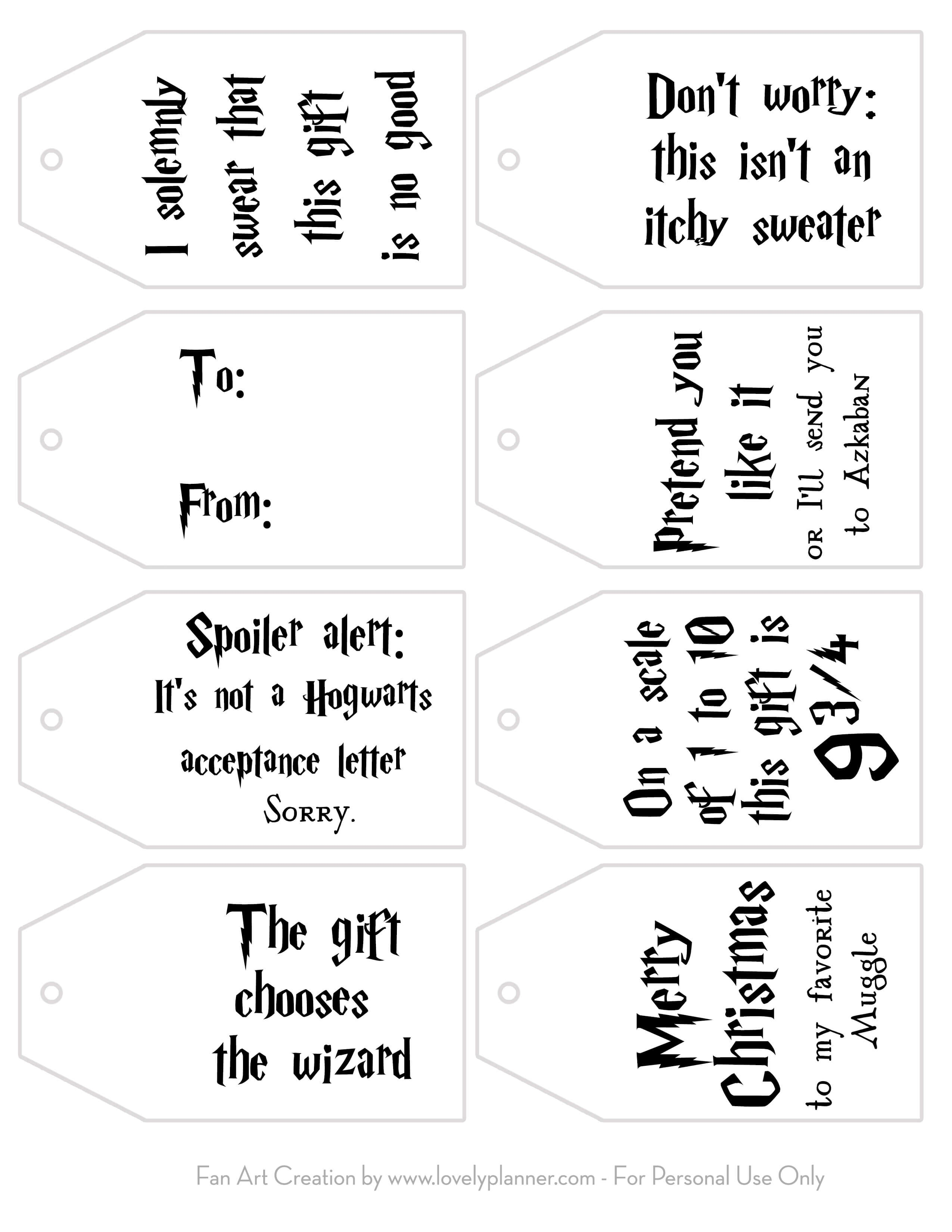 Free Printable Harry Potter Christmas Gift Tags - Lovely Planner - Free Printable Favor Tags