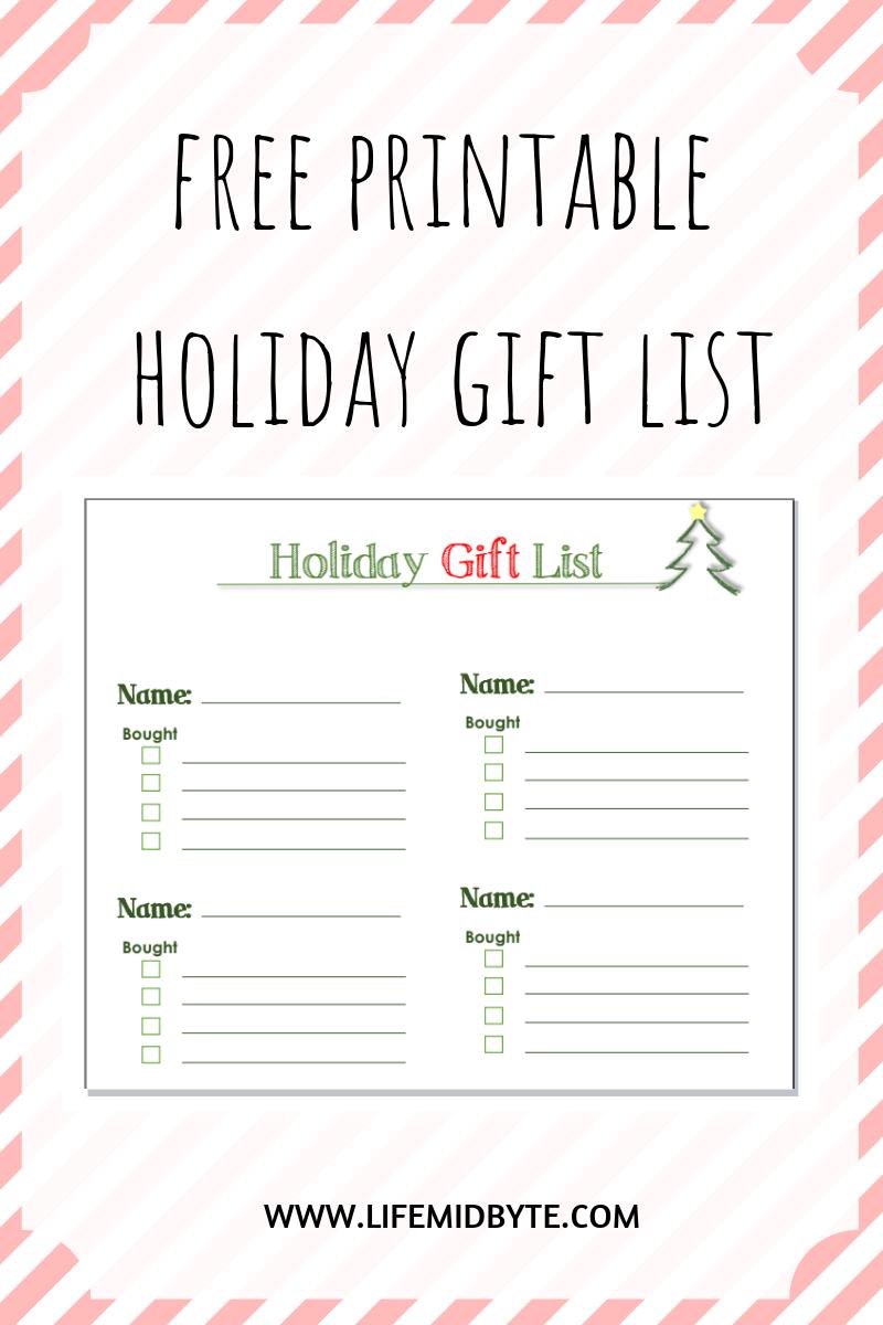 Free Printable Holiday Gift List #freeprintable #printable - Free Printable Gift List