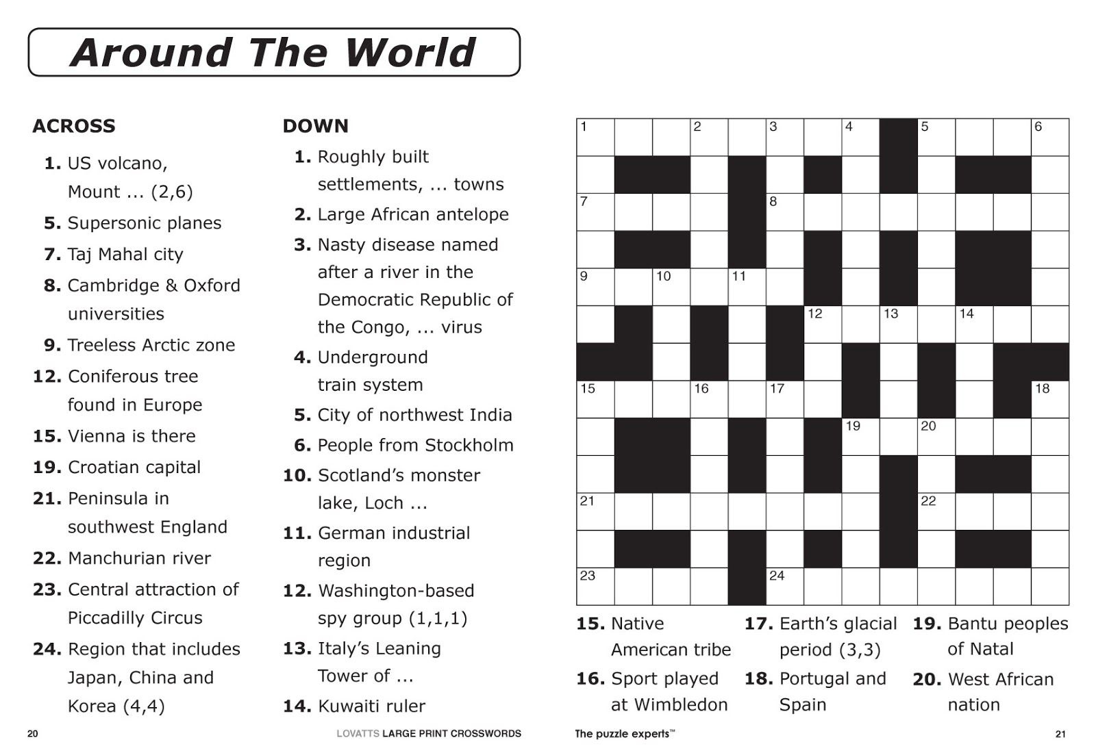 Free Printable Large Print Crossword Puzzles | M3U8 - Free Printable Puzzles