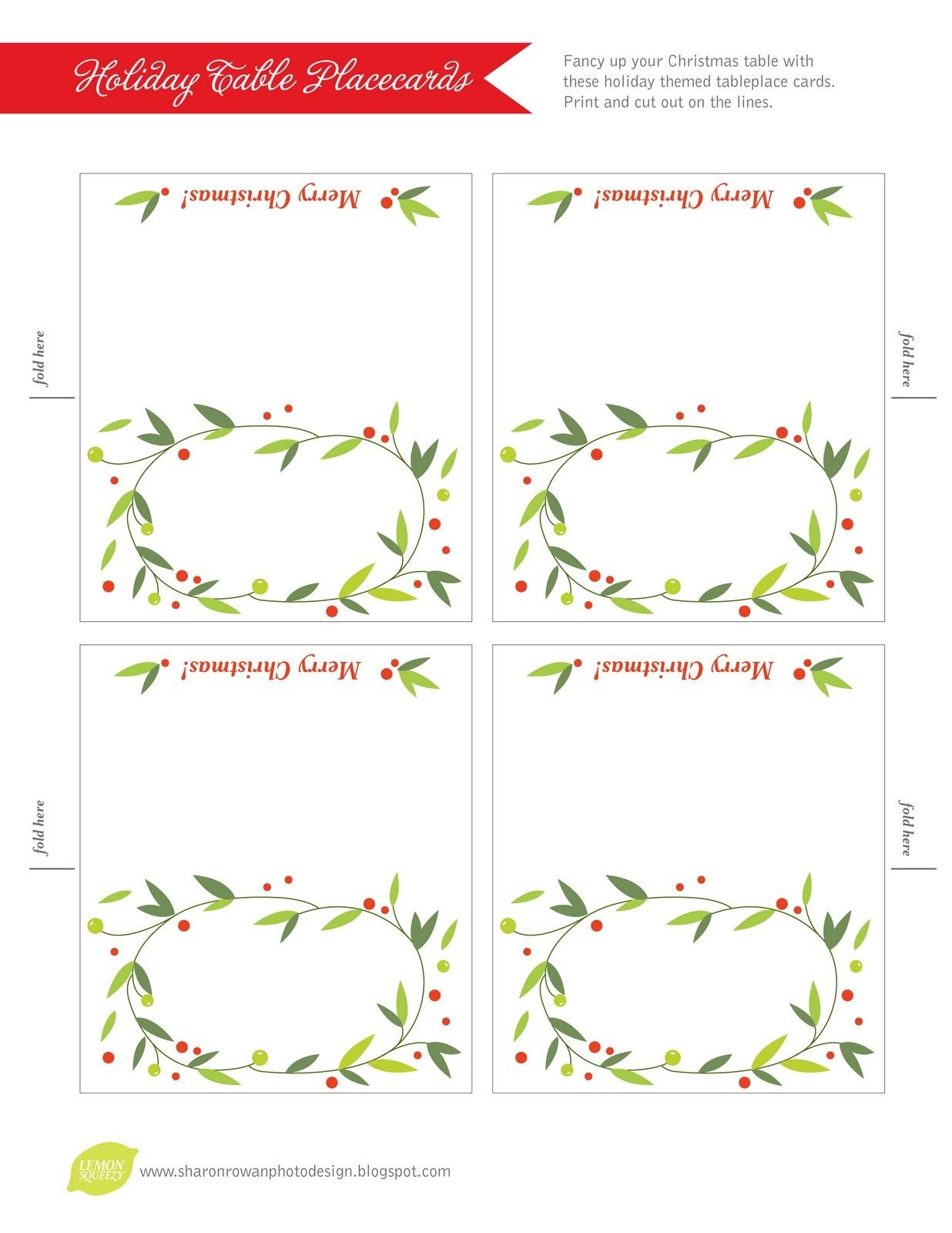 Free Printable Lemon Squeezy: Day 12: Place Cards   Christmas - Free Printable Christmas Tent Cards