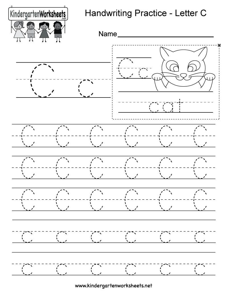 Free Printable Letter C Writing Practice Worksheet For Kindergarten - Free Printable Letter C Worksheets