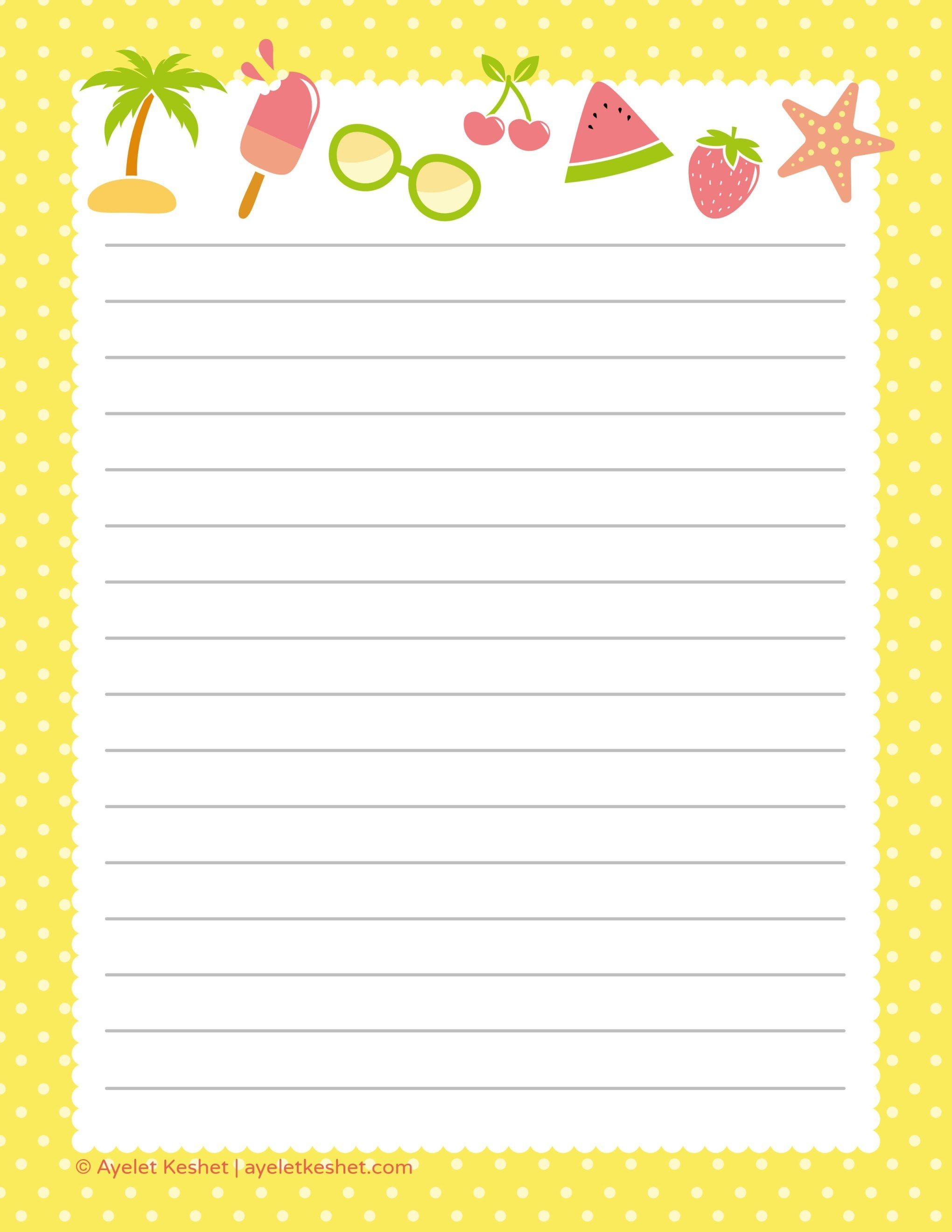 Free Printable Letter Paper   Printables To Go   Free Printable - Writing Borders Free Printable