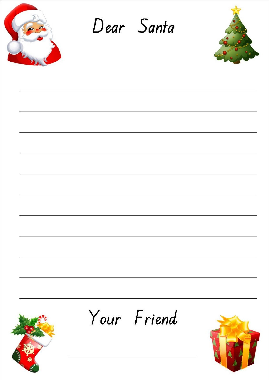 Free Printable: Letter To Santa Paper - Free Printable Santa Letter Paper