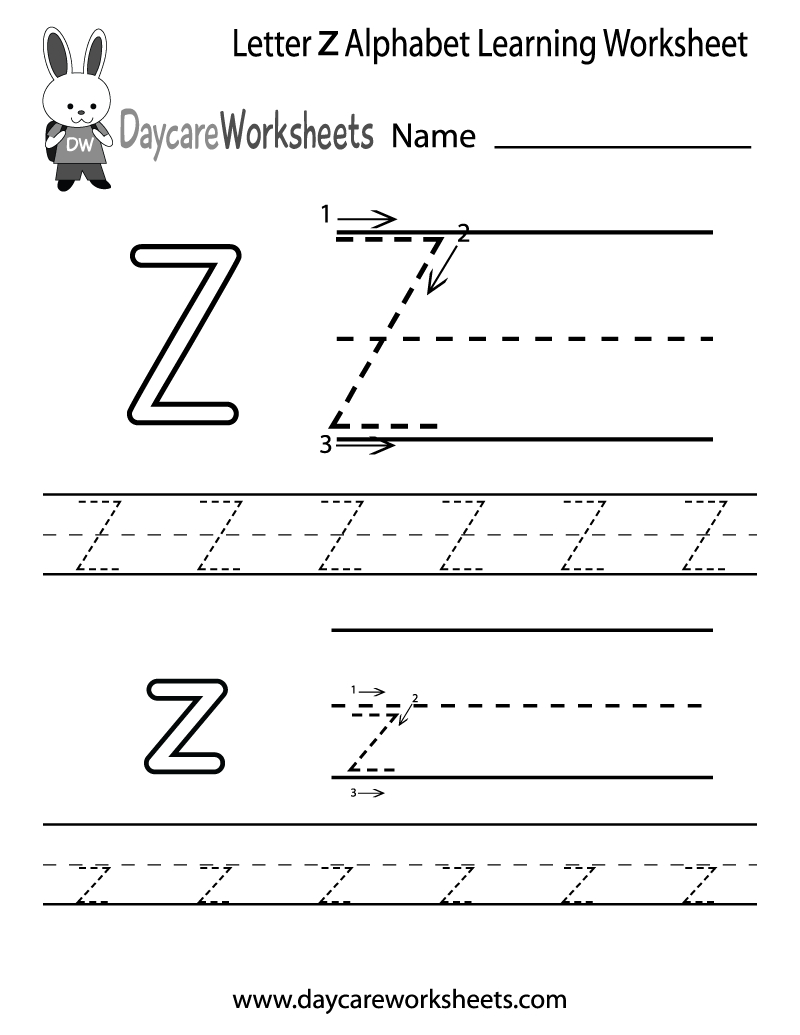 Free Printable Letter Z Alphabet Learning Worksheet For Preschool - Letter Z Worksheets Free Printable