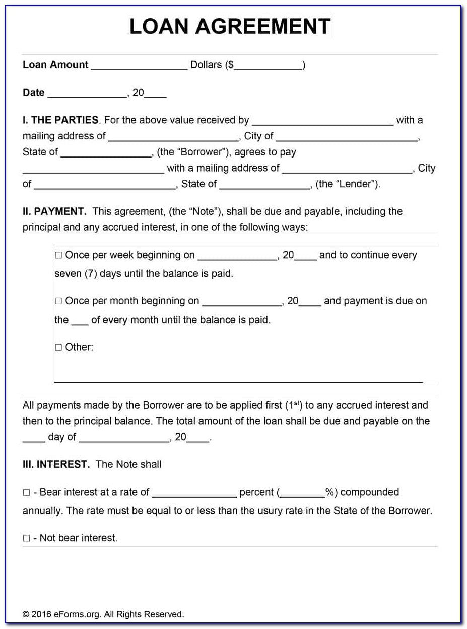 Free Printable Loan Agreement Form - Form : Resume Examples #yd24Drk2Be - Free Printable Loan Forms