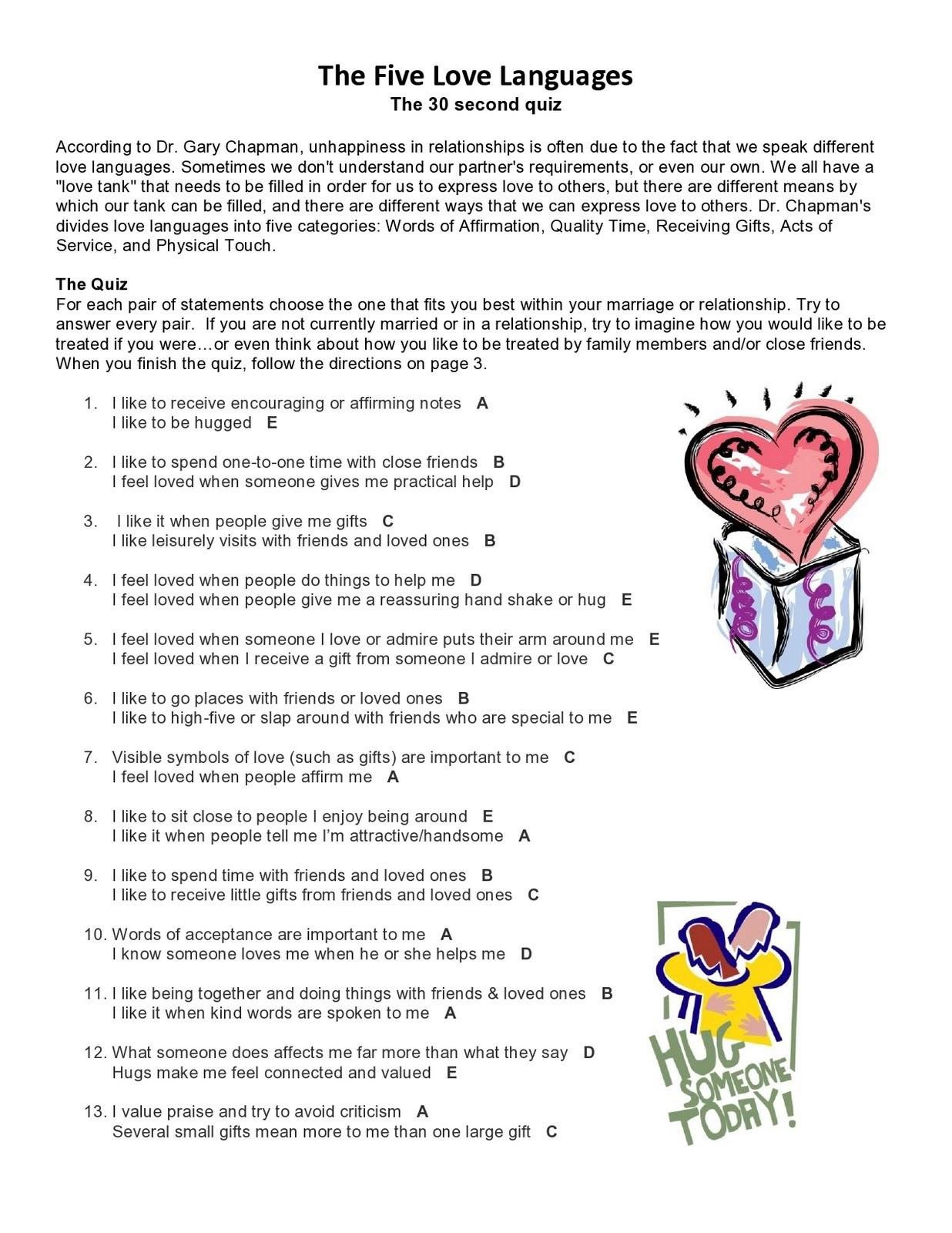 Free Printable Love Language Quiz – Orek - Free Printable Love Language Quiz