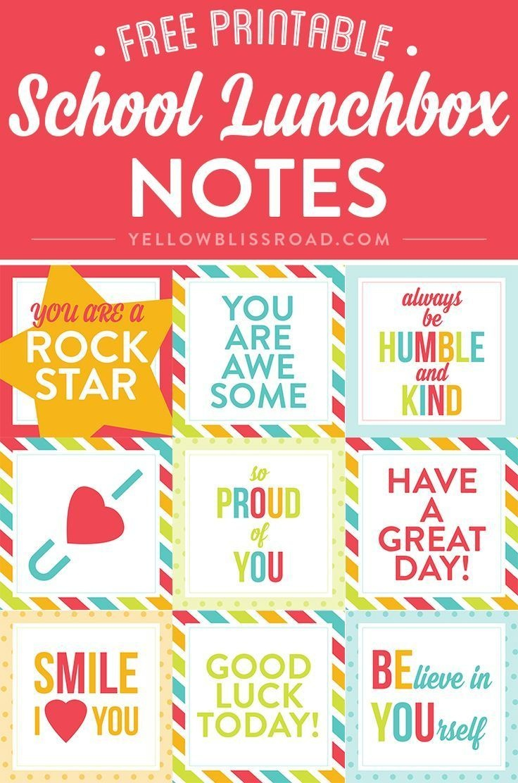 Free Printable Lunch Box Notes | Creative Diy And Crafts Exchange - Free Printable Lunchbox Notes