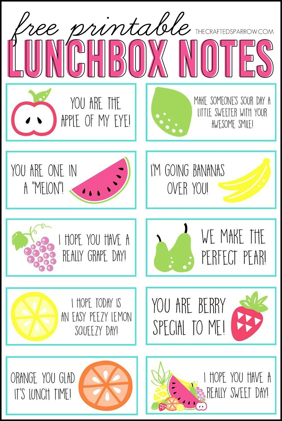 Free Printable Lunchbox Notes - Free Printable Lunchbox Notes