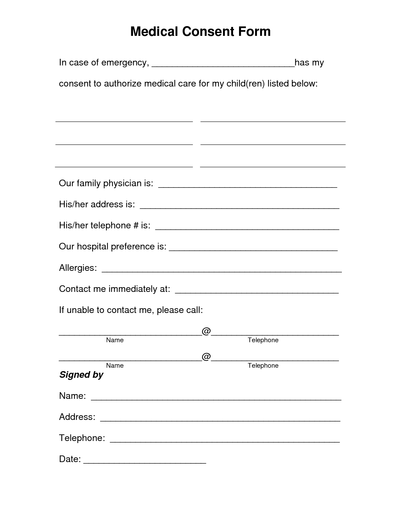 Free Printable Medical Consent Form   Free Medical Consent Form - Free Printable Daycare Forms