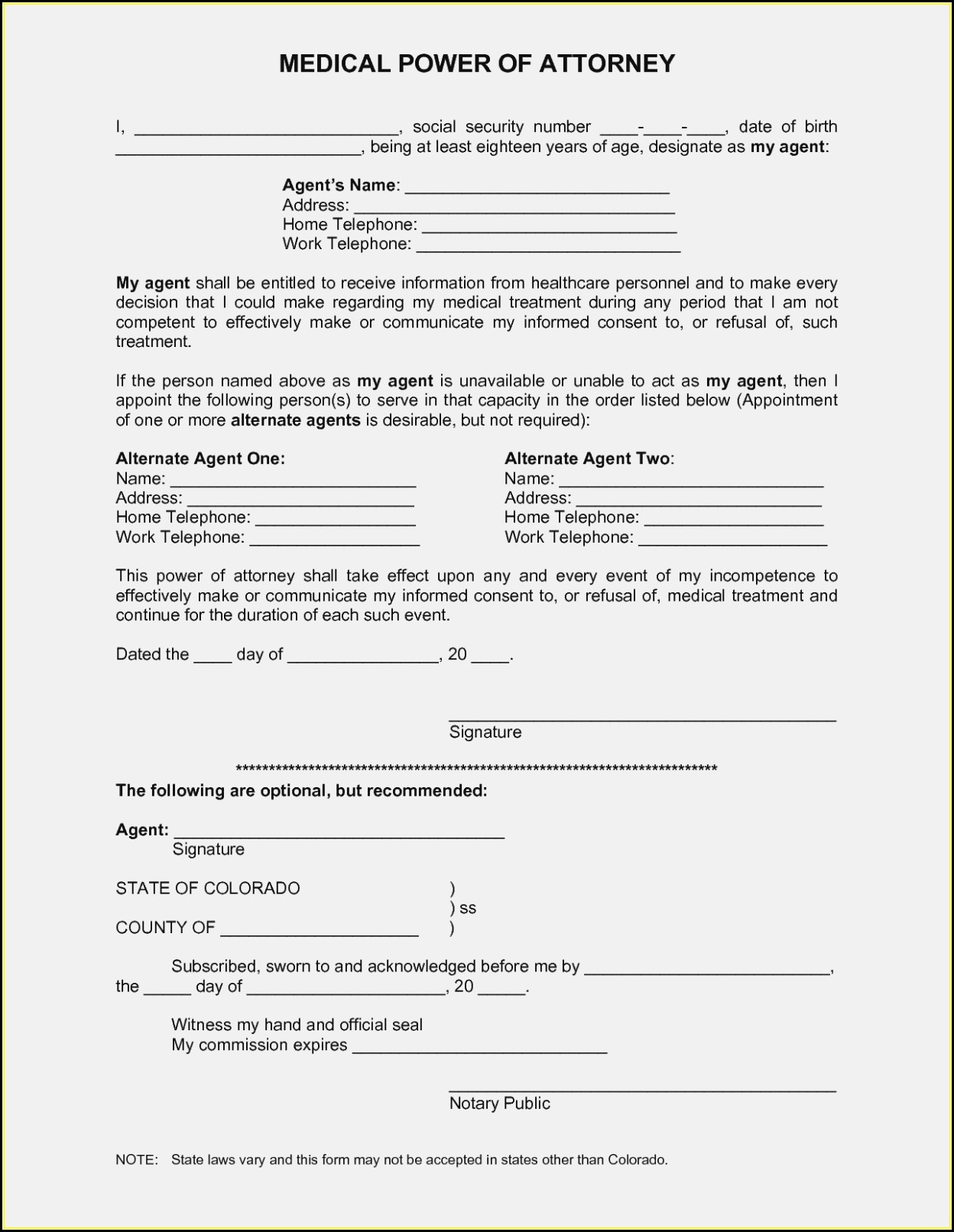 Free Printable Medical Power Of Attorney Forms - Form : Resume - Free Printable Medical Power Of Attorney
