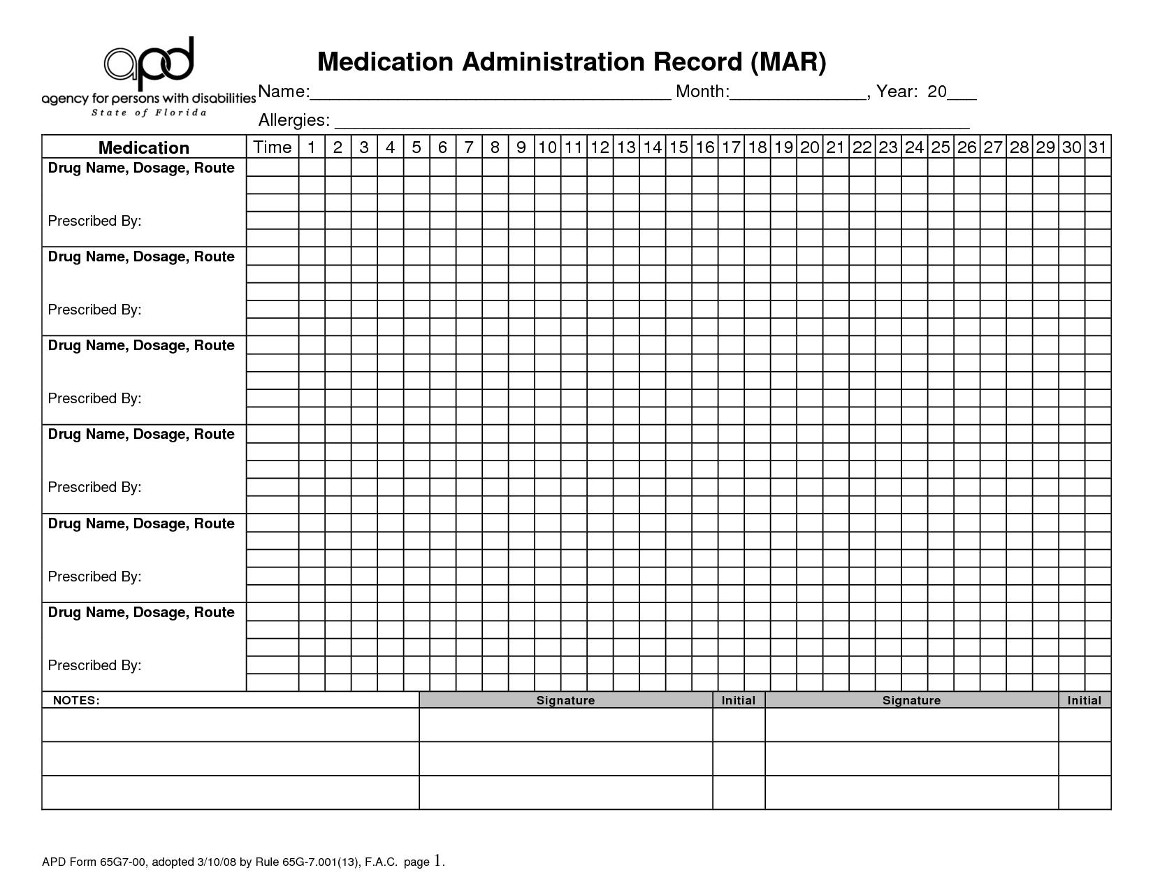 Free Printable Medication Administration Record   Work   Medication - Free Printable Medication Chart