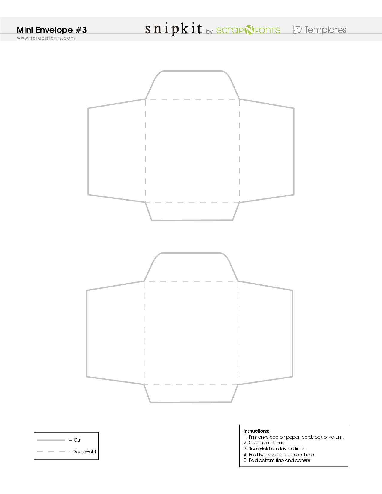 Free Printable Mini Envelope Template - Pdf   Scrapbooking - Mini - Free Printable Greeting Card Envelope Template