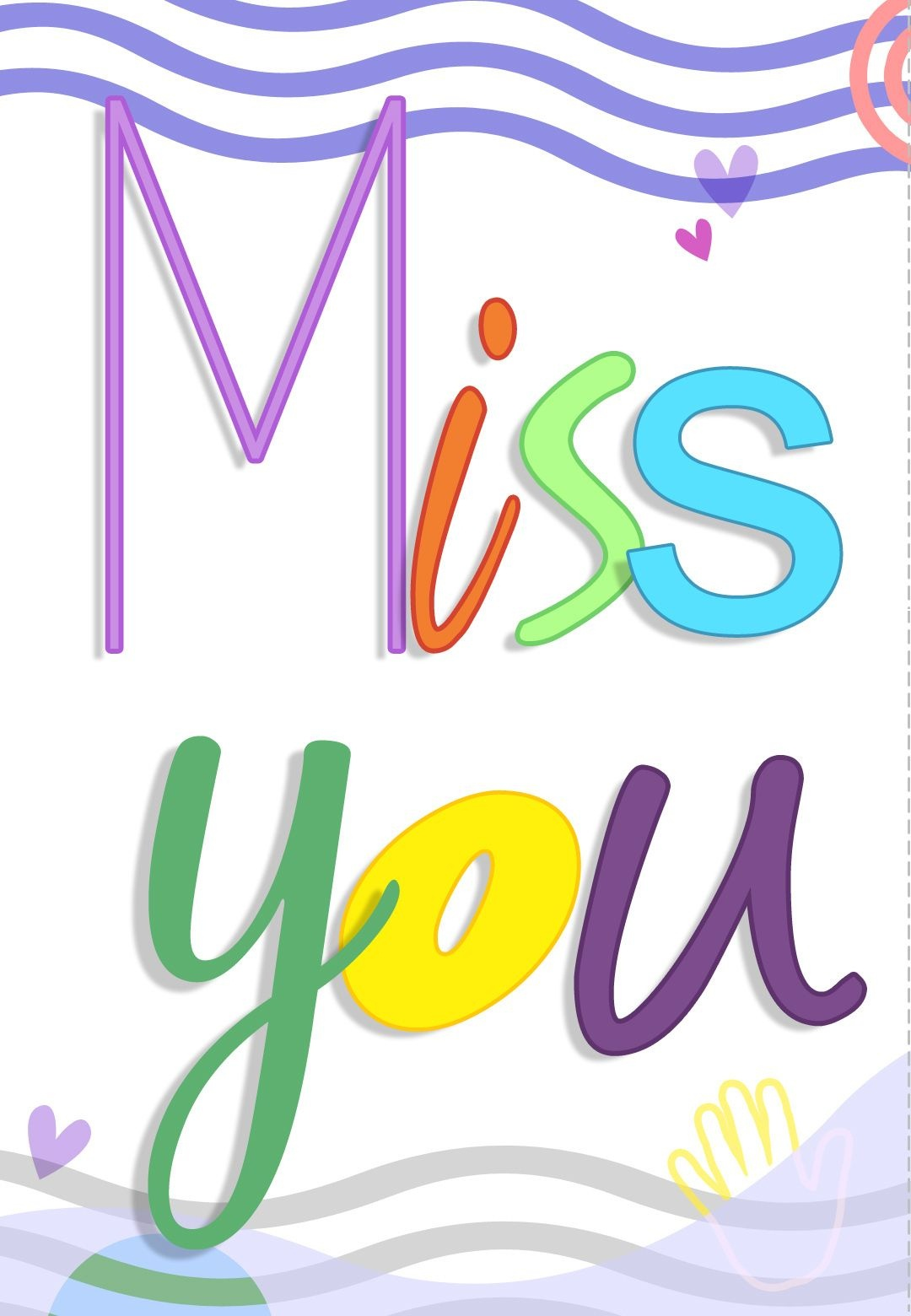 Free Printable Miss You Colored Greeting Card | Printables | Miss - Free Printable We Will Miss You Greeting Cards