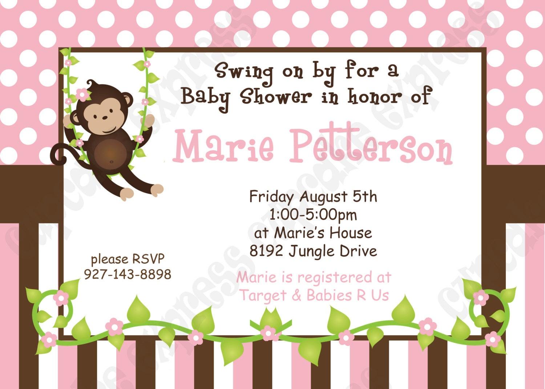 Free Printable Monkey Girl Baby Shower Invitations Free Printable - Free Printable Monkey Girl Baby Shower Invitations