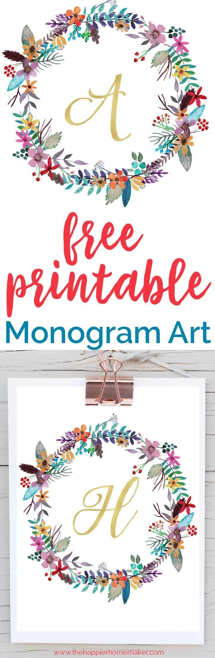 Free Printable Monogram Art | The Happier Homemaker - Free Printable Monogram