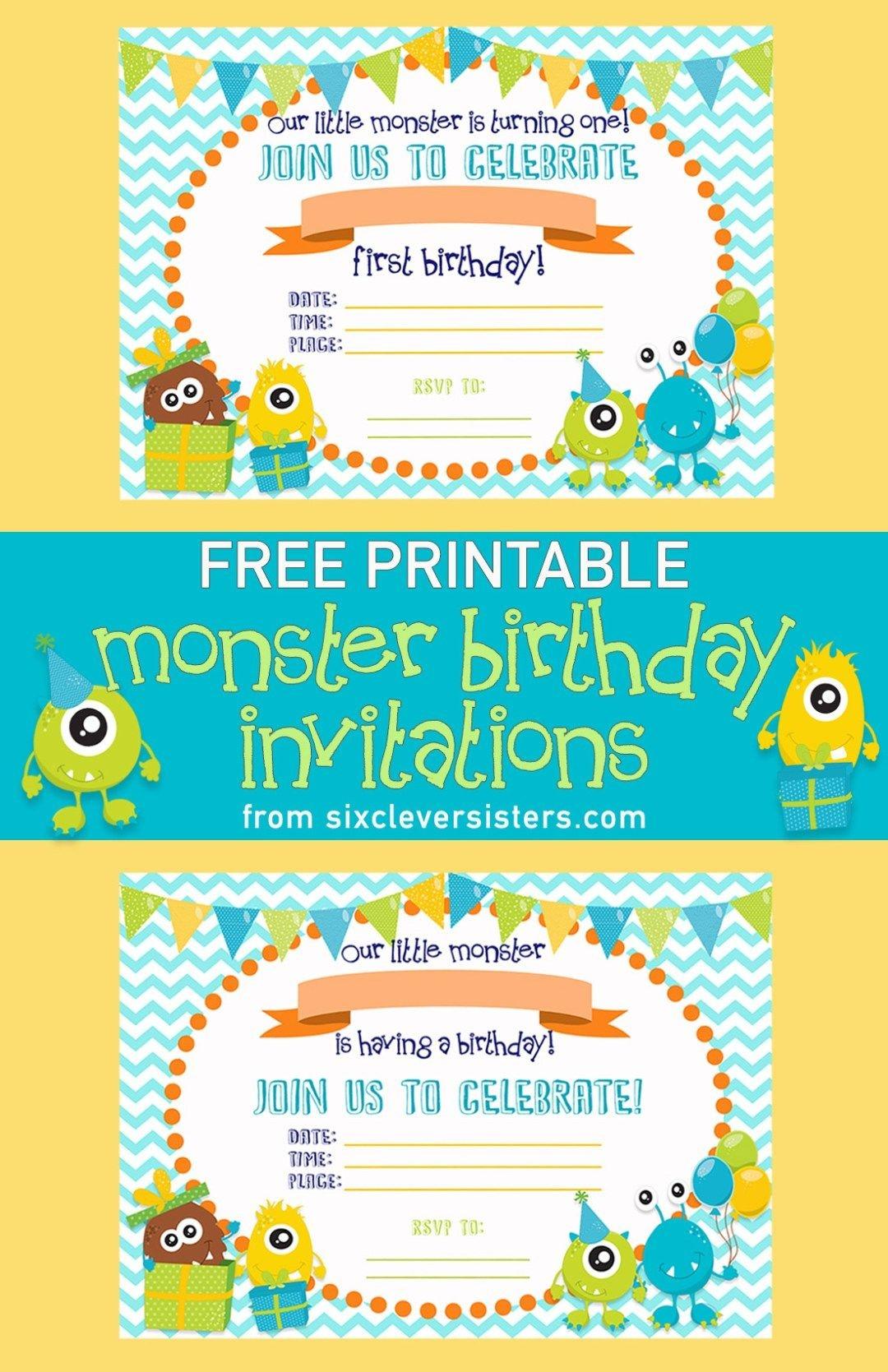Free Printable Monster Birthday Invitations   Birthday One   Pinterest - Free Printable Birthday Invitations Pinterest