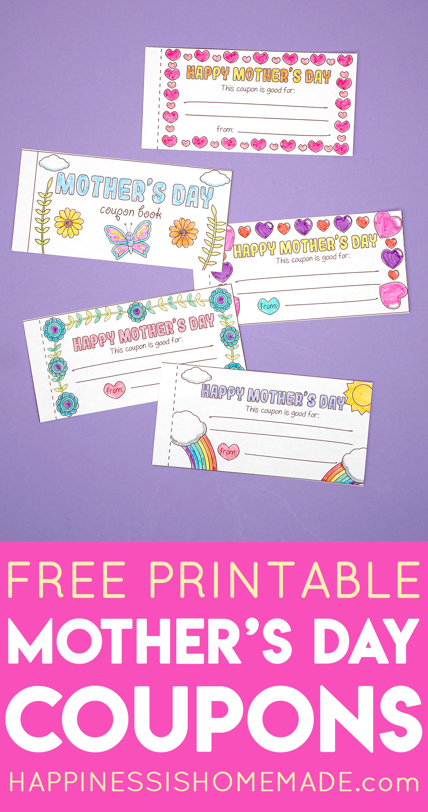 Free Printable Mother's Day Coupons - Happiness Is Homemade - Free Printable Homemade Coupon Book